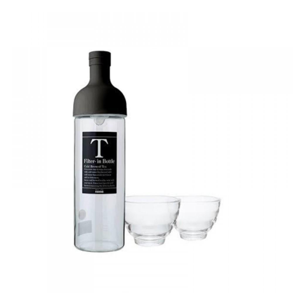 Hario Filter in Bottle & Tea Glass Set ( Black )